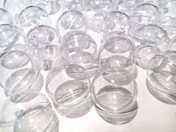 CRYSTAL KING 30 Stück Acrylkugeln 4cm Durchmesser durchsichtige Kugel Aufhängen transparent Dekokugel Bastel Set Christbaumkugeln Acrylkugel Teilbar befüllbare - 4