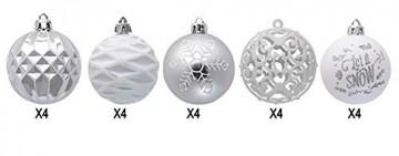 CULASIGN Weihnachtskugeln 20 Stück 6 cm Christbaumschmuck Partys, Babiolen, Weihnachten, Baum-Dekoration,Christbaumkugeln Baumschmuck (Silber + Weiß) - 2