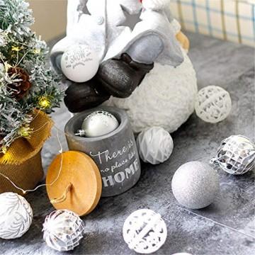 CULASIGN Weihnachtskugeln 20 Stück 6 cm Christbaumschmuck Partys, Babiolen, Weihnachten, Baum-Dekoration,Christbaumkugeln Baumschmuck (Silber + Weiß) - 3