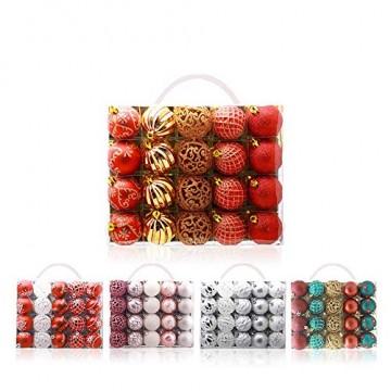 CULASIGN Weihnachtskugeln 20 Stück 6 cm Christbaumschmuck Partys, Babiolen, Weihnachten, Baum-Dekoration,Christbaumkugeln Baumschmuck (Silber + Weiß) - 6