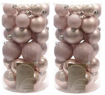 Decoris Christbaumkugeln, bruchsicher, Rosa, 2 x 30 Stück - 1