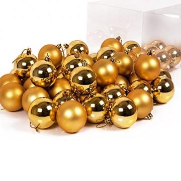 Deuba Weihnachtskugeln Gold 54 Christbaumschmuck Aufhänger Christbaumkugeln für den Weihnachtsbaum Weihnachtsbaumschmuck Weihnachtsbaumkugeln - 2