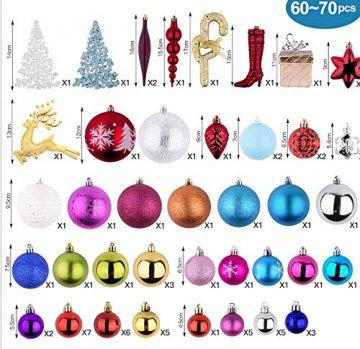 Erlliyeu Weihnachtskugeln,60-70 pcs 1.75-20 cm Kunststoff Christbaumkugeln Weihnachtsdeko mit Aufhänger Glänzend Glitzernd Matt Weihnachtsbaumschmuck Dekoration Rosa Silber - 2