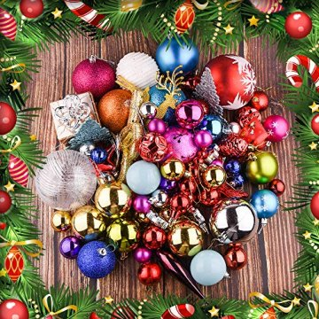Erlliyeu Weihnachtskugeln,60-70 pcs 1.75-20 cm Kunststoff Christbaumkugeln Weihnachtsdeko mit Aufhänger Glänzend Glitzernd Matt Weihnachtsbaumschmuck Dekoration Rosa Silber - 3