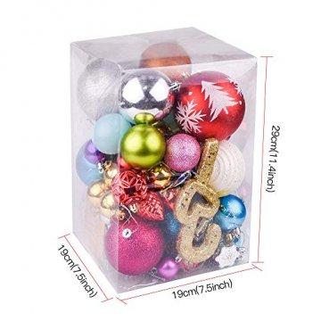 Erlliyeu Weihnachtskugeln,60-70 pcs 1.75-20 cm Kunststoff Christbaumkugeln Weihnachtsdeko mit Aufhänger Glänzend Glitzernd Matt Weihnachtsbaumschmuck Dekoration Rosa Silber - 4