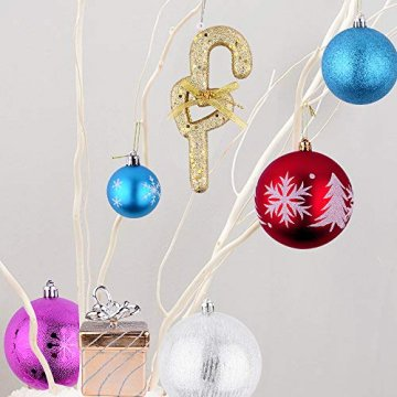 Erlliyeu Weihnachtskugeln,60-70 pcs 1.75-20 cm Kunststoff Christbaumkugeln Weihnachtsdeko mit Aufhänger Glänzend Glitzernd Matt Weihnachtsbaumschmuck Dekoration Rosa Silber - 5