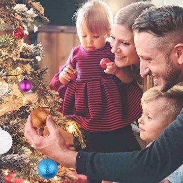 Erlliyeu Weihnachtskugeln,60-70 pcs 1.75-20 cm Kunststoff Christbaumkugeln Weihnachtsdeko mit Aufhänger Glänzend Glitzernd Matt Weihnachtsbaumschmuck Dekoration Rosa Silber - 6