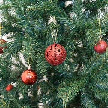 Geschenkestadl 100 Weihnachtskugeln Rot glänzend glitzernd matt Christbaumschmuck bis Ø 6 cm Baumschmuck Weihnachten Deko Anhänger - 3
