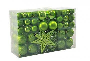 Geschenkestadl 1717S 100 Weihnachtskugeln und Baumspitze Stern (Grün) - 1