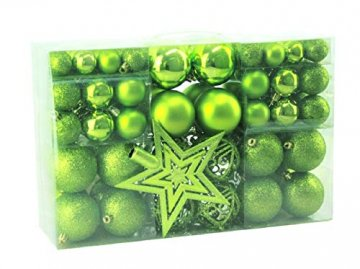 Geschenkestadl 1717S 100 Weihnachtskugeln und Baumspitze Stern (Grün) - 3