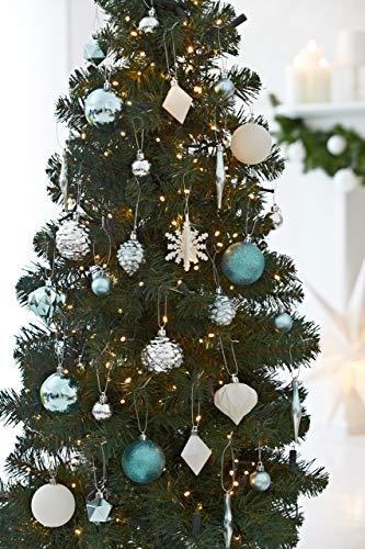 HEITMANN DECO 29er Set Christbaumkugeln Sortiment - Weihnachtsschmuck türkis Silber weiß zum Aufhängen - Kunststoff Christbaumschmuck (Türkis, Weiß, Silber) - 3