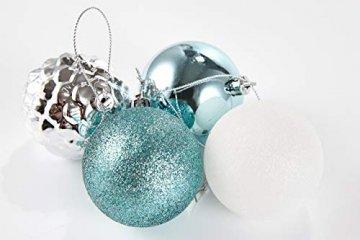 HEITMANN DECO 29er Set Christbaumkugeln Sortiment - Weihnachtsschmuck türkis Silber weiß zum Aufhängen - Kunststoff Christbaumschmuck (Türkis, Weiß, Silber) - 4