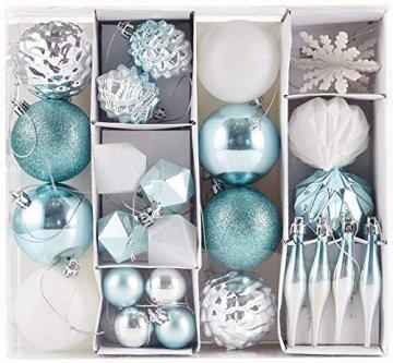 HEITMANN DECO 29er Set Christbaumkugeln Sortiment - Weihnachtsschmuck türkis Silber weiß zum Aufhängen - Kunststoff Christbaumschmuck (Türkis, Weiß, Silber) - 1