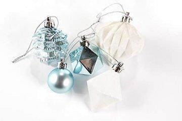 HEITMANN DECO 29er Set Christbaumkugeln Sortiment - Weihnachtsschmuck türkis Silber weiß zum Aufhängen - Kunststoff Christbaumschmuck (Türkis, Weiß, Silber) - 5