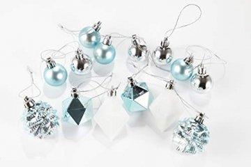 HEITMANN DECO 29er Set Christbaumkugeln Sortiment - Weihnachtsschmuck türkis Silber weiß zum Aufhängen - Kunststoff Christbaumschmuck (Türkis, Weiß, Silber) - 6