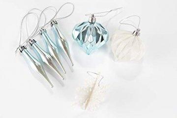 HEITMANN DECO 29er Set Christbaumkugeln Sortiment - Weihnachtsschmuck türkis Silber weiß zum Aufhängen - Kunststoff Christbaumschmuck (Türkis, Weiß, Silber) - 7