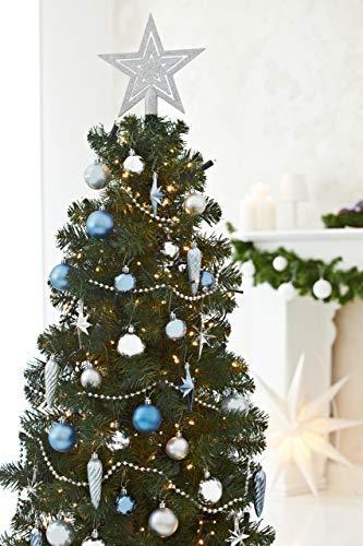 HEITMANN DECO 50er Set Christbaumkugeln Christbaumschmuck mit Stern Spitze - Kunststoff Weihnachtsschmuck Blau Silber zum Aufhängen - 3