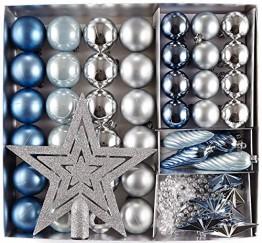 HEITMANN DECO 50er Set Christbaumkugeln Christbaumschmuck mit Stern Spitze - Kunststoff Weihnachtsschmuck Blau Silber zum Aufhängen - 1