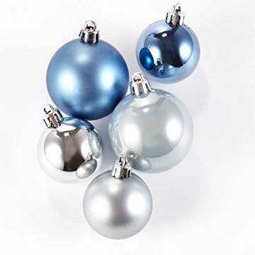 HEITMANN DECO 50er Set Christbaumkugeln Christbaumschmuck mit Stern Spitze - Kunststoff Weihnachtsschmuck Blau Silber zum Aufhängen - 4