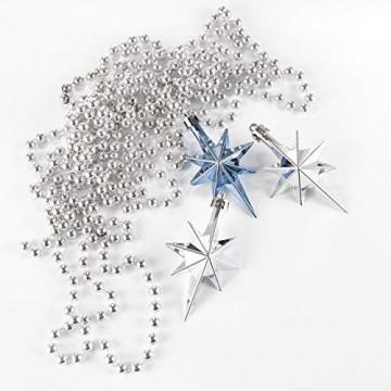 HEITMANN DECO 50er Set Christbaumkugeln Christbaumschmuck mit Stern Spitze - Kunststoff Weihnachtsschmuck Blau Silber zum Aufhängen - 6