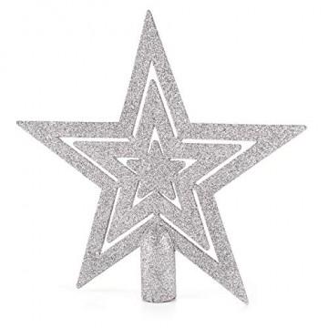 HEITMANN DECO 50er Set Christbaumkugeln Christbaumschmuck mit Stern Spitze - Kunststoff Weihnachtsschmuck Blau Silber zum Aufhängen - 7