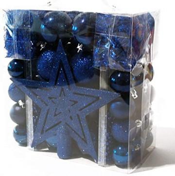 HEITMANN DECO Weihnachtsbaum-Schmuck Christbaumkugeln - Blau - 45-teilig - Set inkl. Baumspitze, Kugeln 3,5 cm / 6 cm, Perlketten und Girlanden - Kunststoff - 1
