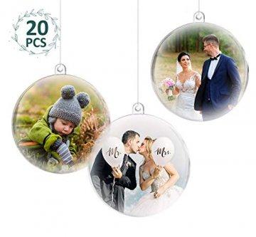 ilauke 20 stück Christbaumkugeln Weihnachtskugeln Acrylkugeln Transparent Set mit Federn- Perlenfaden- Schneeflocken, für Saisonal Deko, Hochzeit, Bemahlung, Weihnachtsbaumschmuck, Party (80mm) - 1
