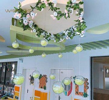ilauke 20 stück Christbaumkugeln Weihnachtskugeln Acrylkugeln Transparent Set mit Federn- Perlenfaden- Schneeflocken, für Saisonal Deko, Hochzeit, Bemahlung, Weihnachtsbaumschmuck, Party (80mm) - 5
