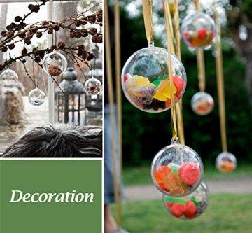 ilauke 20 stück Christbaumkugeln Weihnachtskugeln Acrylkugeln Transparent Set mit Federn- Perlenfaden- Schneeflocken, für Saisonal Deko, Hochzeit, Bemahlung, Weihnachtsbaumschmuck, Party (80mm) - 6