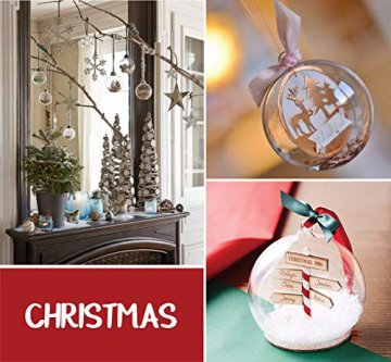 ilauke 20 stück Christbaumkugeln Weihnachtskugeln Acrylkugeln Transparent Set mit Federn- Perlenfaden- Schneeflocken, für Saisonal Deko, Hochzeit, Bemahlung, Weihnachtsbaumschmuck, Party (80mm) - 7