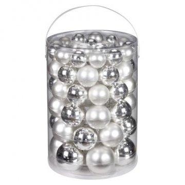 Inge-glas 12000A460MO Kugelsortiment 60 Stück/Vorteilsdose, 18x4 / 20x5 / 16x6 /  6x7 cm, silber glanz / weiß matt - 1