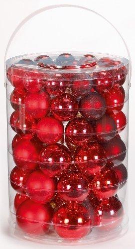 Inge-glas 15007A460MO Kugelsortiment 60 Stück/Großdose Ruby-Red-Mix 4 / 5 / 6 / 7 cm - 1
