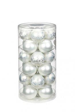Inge-glas 16106D103MO Glaskugel, 60 mm, 24 Stück/Dose, Eislack, matt weiß - 1
