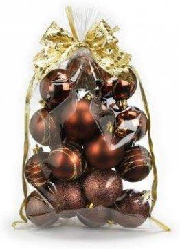 Inge-glas 20 STK. Christbaumkugeln 6cm Kuststoff // PVC Weihnachtskugeln Baumschmuck Dekor Motive Plastik Christbaumschmuck Mix Set Weihnachten Geschenk (braun) - 1