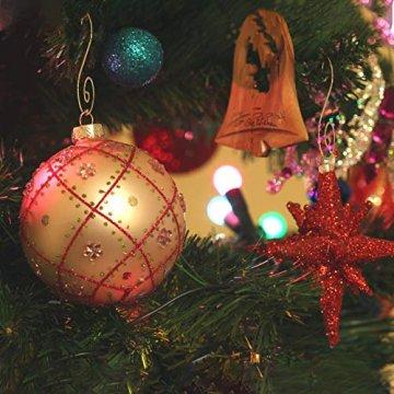 KATOOM 100er Kugelaufhänger Christbaumkugeln Aufhänger Weihnachtskugel Haken Gold Metallhaken Dekohaken für Kugel Weihnachtsbaum Christbaum Baumkugeln Christbaumschmuck - 2