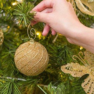 KATOOM 100er Kugelaufhänger Christbaumkugeln Aufhänger Weihnachtskugel Haken Gold Metallhaken Dekohaken für Kugel Weihnachtsbaum Christbaum Baumkugeln Christbaumschmuck - 4