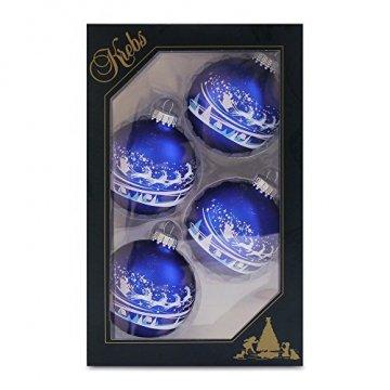 Krebs Glas Lauscha - Set mit 4 Christbaumkugeln in Blau und Weiß - Santa über Dorf - Größe ca. 7 cm - 1