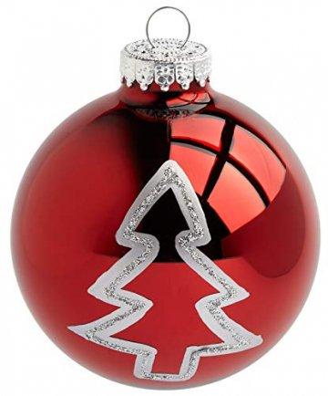 KREBS & SOHN 12er Set Glas Christbaumkugeln - Weihnachtsbaum Deko zum Aufhängen - Weihnachtskugeln 8 cm - Rot Sterne - 3