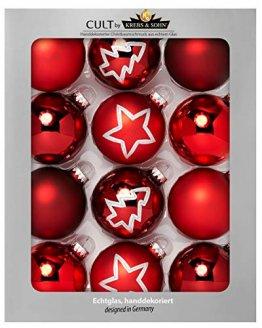 KREBS & SOHN 12er Set Glas Christbaumkugeln - Weihnachtsbaum Deko zum Aufhängen - Weihnachtskugeln 8 cm - Rot Sterne - 1