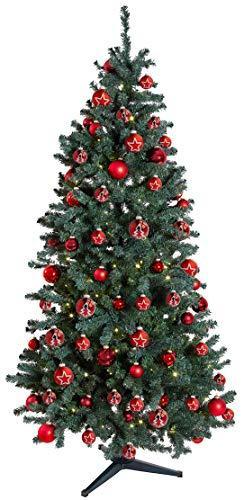 KREBS & SOHN 12er Set Glas Christbaumkugeln - Weihnachtsbaum Deko zum Aufhängen - Weihnachtskugeln 8 cm - Rot Sterne - 4
