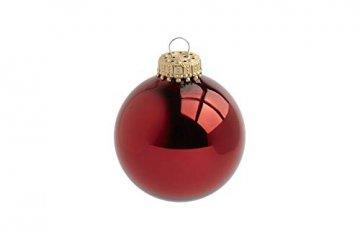 KREBS & SOHN 12er Set Glas Christbaumkugeln - Weihnachtsbaum Deko zum Aufhängen - Weihnachtskugeln 8 cm - Rot Sterne - 5