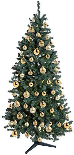 KREBS & SOHN 12er Set Glaskugeln - Weihnachtsbaumschmuck zum Aufhängen - Christbaumkugeln Sortiment - Gold Elfenbein - 2