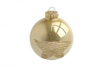 KREBS & SOHN 12er Set Glaskugeln - Weihnachtsbaumschmuck zum Aufhängen - Christbaumkugeln Sortiment - Gold Elfenbein - 3