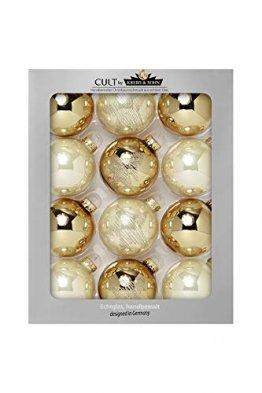 KREBS & SOHN 12er Set Glaskugeln - Weihnachtsbaumschmuck zum Aufhängen - Christbaumkugeln Sortiment - Gold Elfenbein - 1