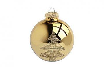 KREBS & SOHN 12er Set Glaskugeln - Weihnachtsbaumschmuck zum Aufhängen - Christbaumkugeln Sortiment - Gold Elfenbein - 4