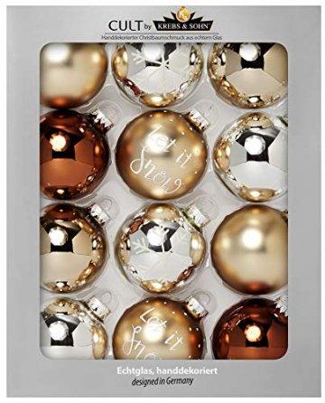 KREBS & SOHN Heitmann Deco 12er Set Glas Christbaumkugeln-Weihnachtsbaum Deko zum Aufhängen-Weihnachtskugeln 8 cm-Braun Silber, Gold, (8cm Ø Durchmesser) - 1