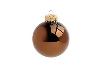 KREBS & SOHN Heitmann Deco 20er Set Glas Christbaumkugeln-Weihnachtsbaum Deko zum Aufhängen-Weihnachtskugeln 5,7 cm-Gold, Braun/Silber (5,7cm Ø Durchmesser) - 5