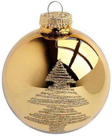 KREBS & SOHN Heitmann Deco 20er Set Glas Christbaumkugeln-Weihnachtsbaum Deko zum Aufhängen-Weihnachtskugeln 5,7 cm-Gold, Elfenbein, (5,7cm Ø Durchmesser) - 3