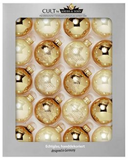 KREBS & SOHN Heitmann Deco 20er Set Glas Christbaumkugeln-Weihnachtsbaum Deko zum Aufhängen-Weihnachtskugeln 5,7 cm-Gold, Elfenbein, (5,7cm Ø Durchmesser) - 1