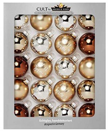 KREBS & SOHN Heitmann Deco 20er Set Glas Christbaumkugeln-Weihnachtsbaum Deko zum Aufhängen-Weihnachtskugeln 5,7 cm-Gold, Braun/Silber (5,7cm Ø Durchmesser) - 1